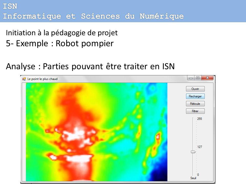 Initiation à la pédagogie de projet 5- Exemple : Robot pompier Analyse : Parties pouvant être traiter en ISN