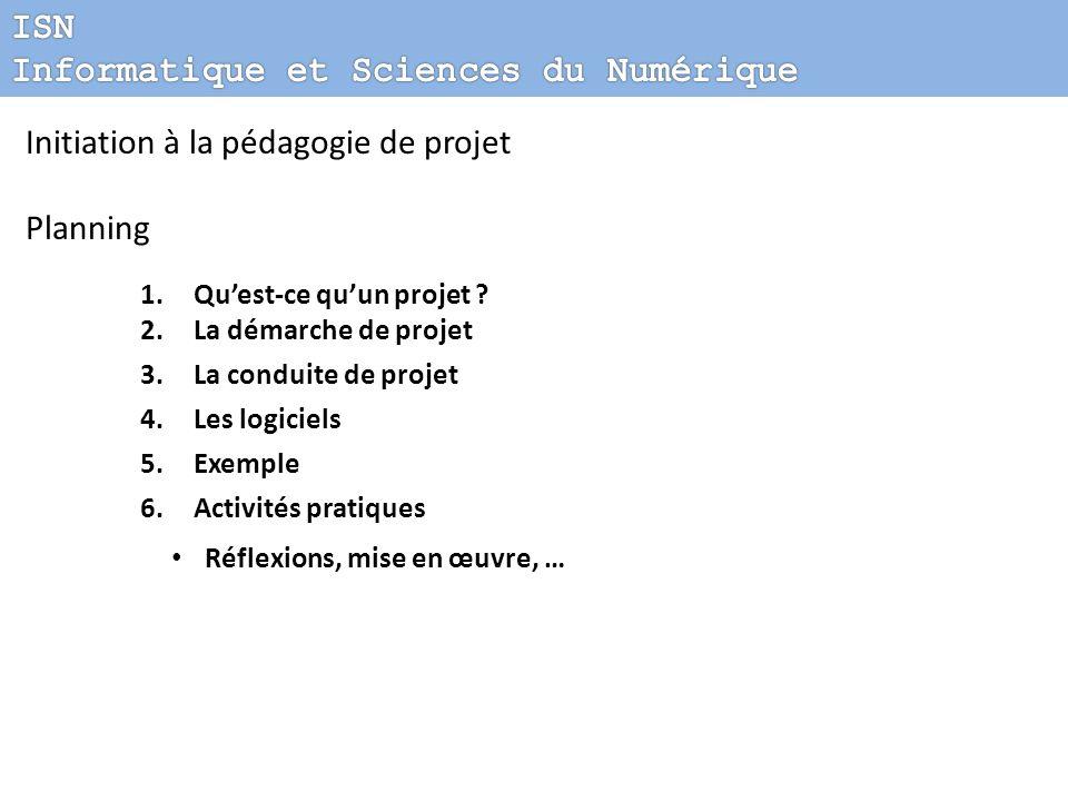 Initiation à la pédagogie de projet Planning 1.Quest-ce quun projet ? 2.La démarche de projet 3.La conduite de projet 4.Les logiciels 5.Exemple 6.Acti