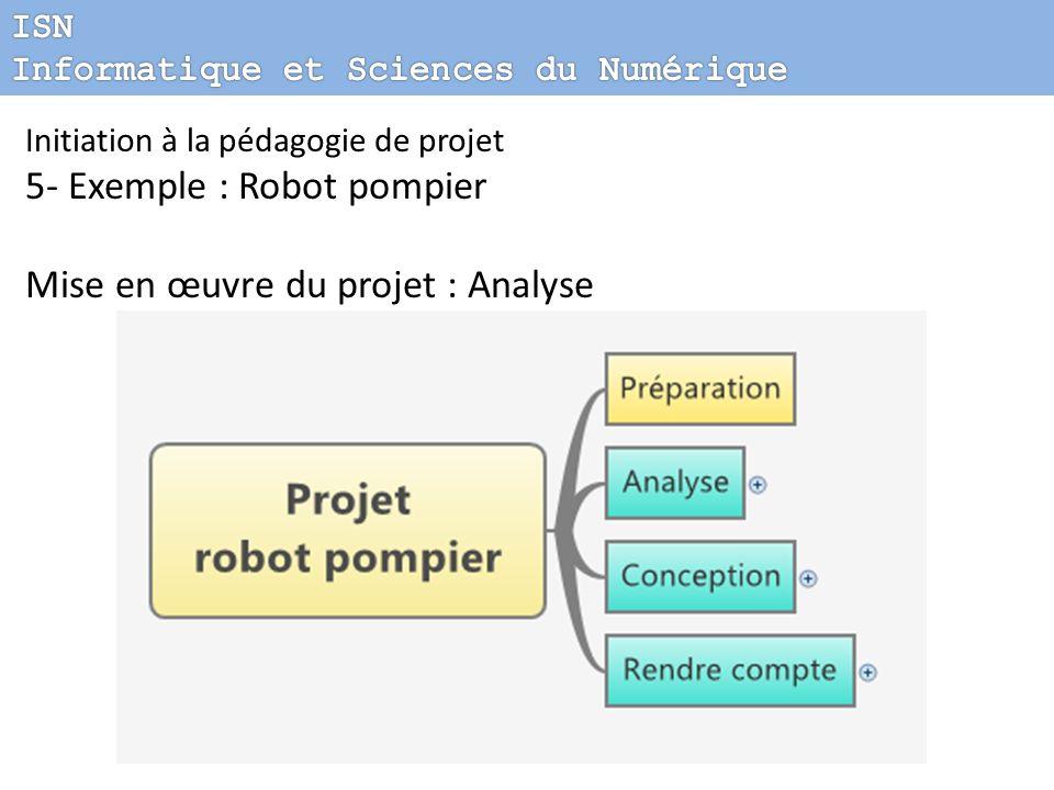 Initiation à la pédagogie de projet 5- Exemple : Robot pompier Mise en œuvre du projet : Analyse