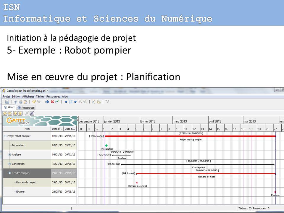 Initiation à la pédagogie de projet 5- Exemple : Robot pompier Mise en œuvre du projet : Planification