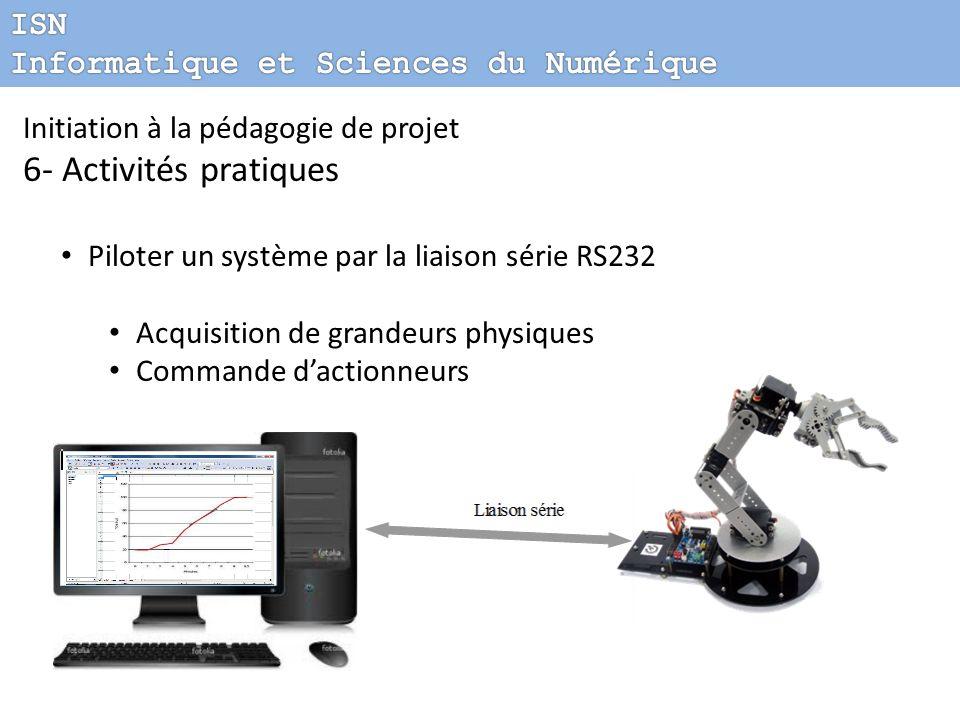 Initiation à la pédagogie de projet 6- Activités pratiques Piloter un système par la liaison série RS232 Acquisition de grandeurs physiques Commande d