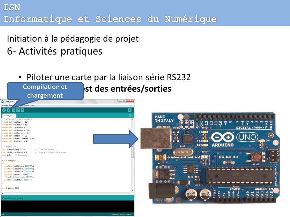 Initiation à la pédagogie de projet 6- Activités pratiques Piloter une carte par la liaison série RS232 Carte de test des entrées/sorties Compilation