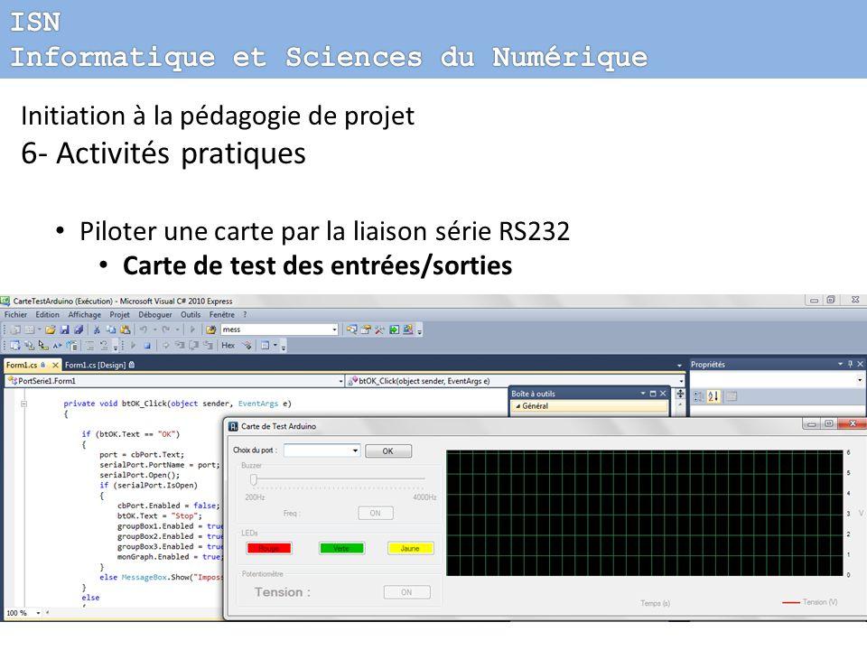 Initiation à la pédagogie de projet 6- Activités pratiques Piloter une carte par la liaison série RS232 Carte de test des entrées/sorties