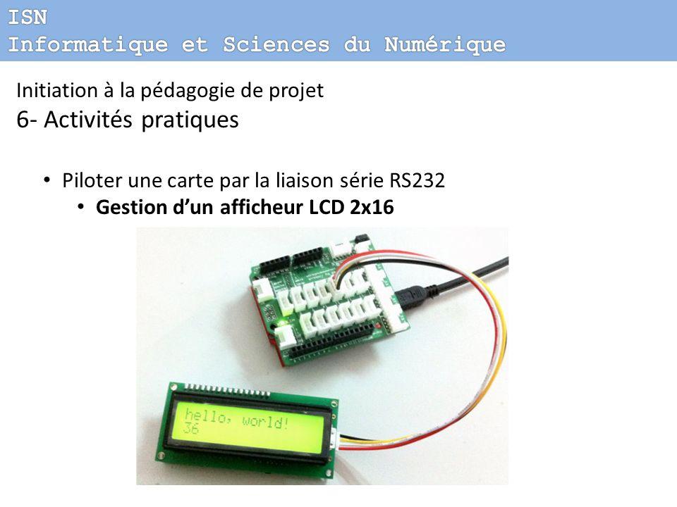 Initiation à la pédagogie de projet 6- Activités pratiques Piloter une carte par la liaison série RS232 Gestion dun afficheur LCD 2x16