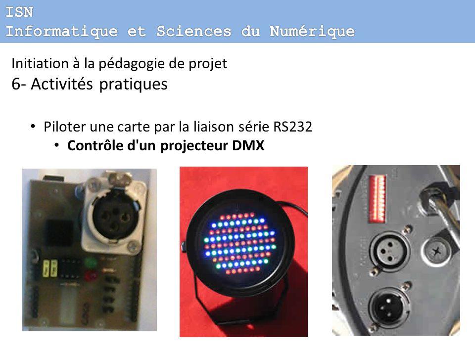 Initiation à la pédagogie de projet 6- Activités pratiques Piloter une carte par la liaison série RS232 Contrôle d'un projecteur DMX
