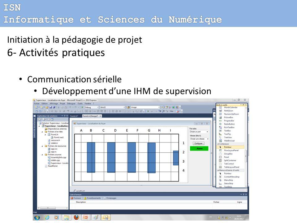 Initiation à la pédagogie de projet 6- Activités pratiques Communication sérielle Développement dune IHM de supervision