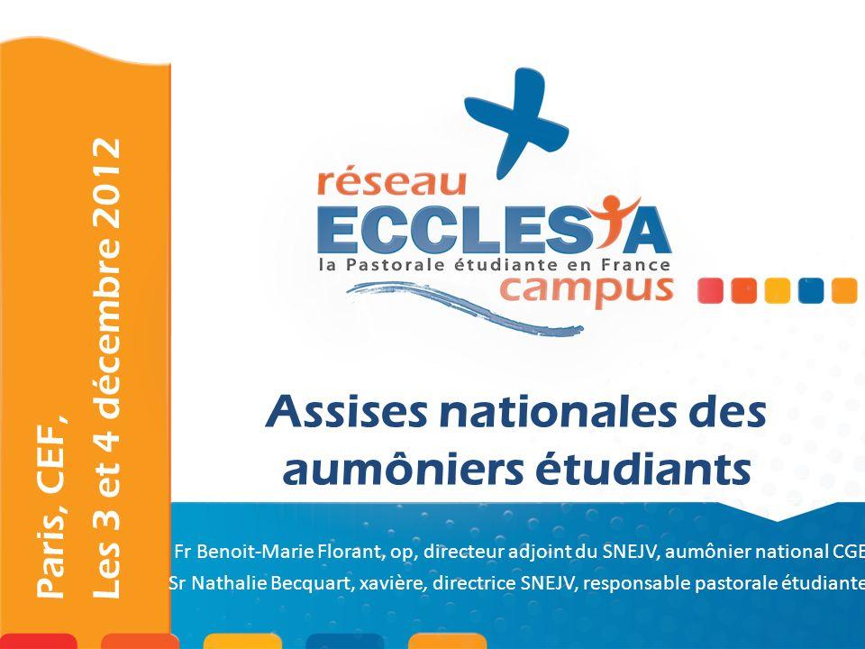 Paris, CEF, Les 3 et 4 décembre 2012 -Se rencontrer, faire réseau -Se former, se ressourcer -Recul et réflexion sur sa mission -Partage dexpérience Objectifs des Assises nationales