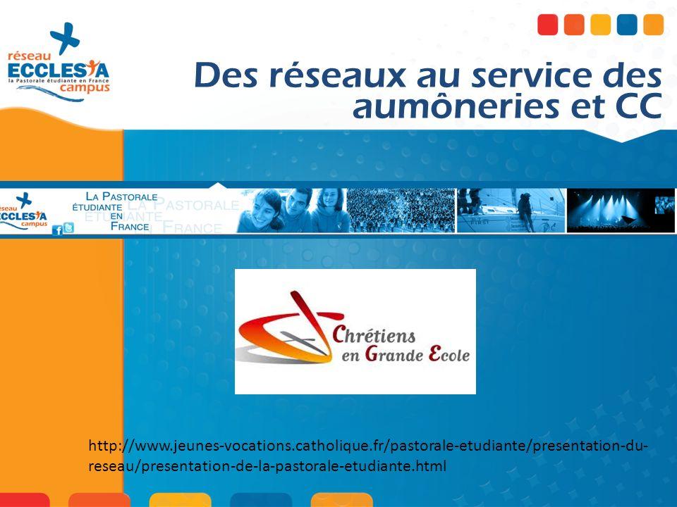 Des réseaux au service des aumôneries et CC http://www.jeunes-vocations.catholique.fr/pastorale-etudiante/presentation-du- reseau/presentation-de-la-p