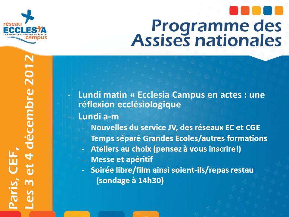 Paris, CEF, Les 3 et 4 décembre 2012 -Lundi matin « Ecclesia Campus en actes : une réflexion ecclésiologique -Lundi a-m -Nouvelles du service JV, des