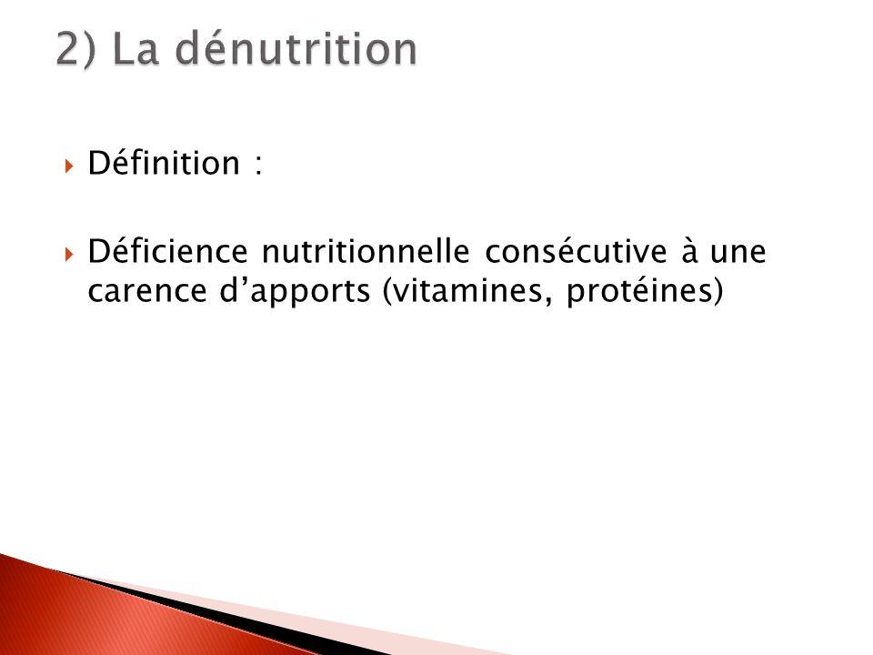 Définition : Déficience nutritionnelle consécutive à une carence dapports (vitamines, protéines)