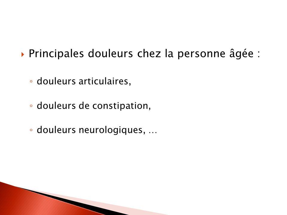 Principales douleurs chez la personne âgée : douleurs articulaires, douleurs de constipation, douleurs neurologiques, …
