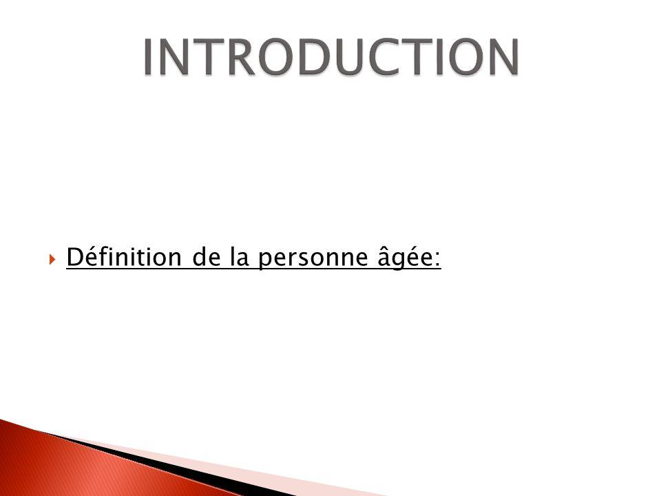 Définition de la personne âgée: