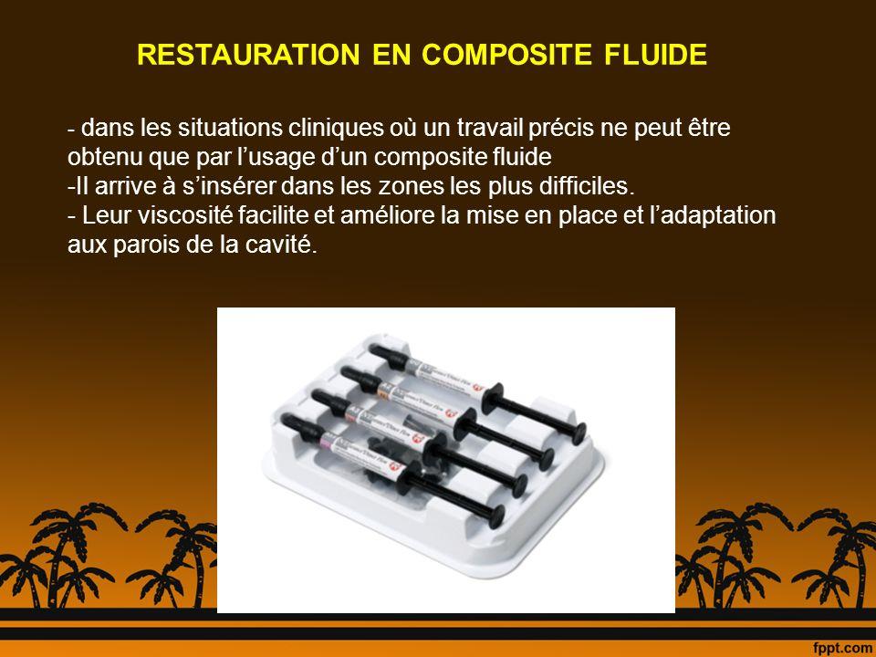 RESTAURATION EN COMPOSITE FLUIDE - dans les situations cliniques où un travail précis ne peut être obtenu que par lusage dun composite fluide -Il arri