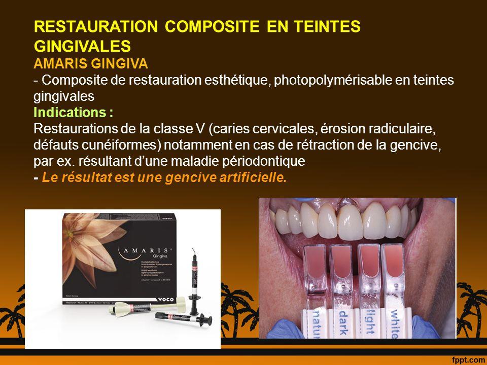 RESTAURATION COMPOSITE EN TEINTES GINGIVALES AMARIS GINGIVA - Composite de restauration esthétique, photopolymérisable en teintes gingivales Indicatio