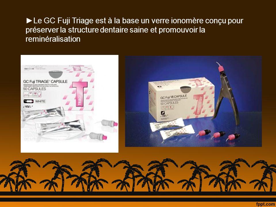 Le GC Fuji Triage est à la base un verre ionomère conçu pour préserver la structure dentaire saine et promouvoir la reminéralisation