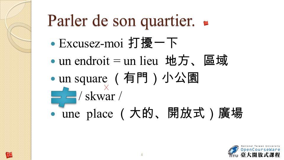 Parler de son quartier. Excusez-moi un endroit = un lieu un square / skwar / une place 4
