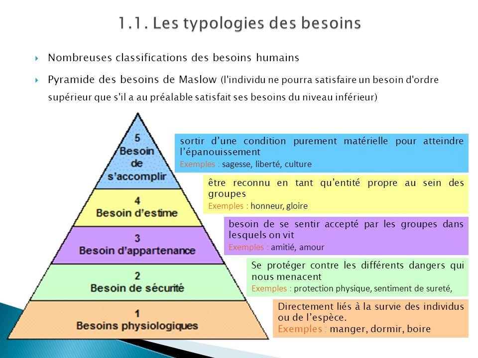 Nombreuses classifications des besoins humains Pyramide des besoins de Maslow (l individu ne pourra satisfaire un besoin d ordre supérieur que s il a au préalable satisfait ses besoins du niveau inférieur) Directement liés à la survie des individus ou de lespèce.