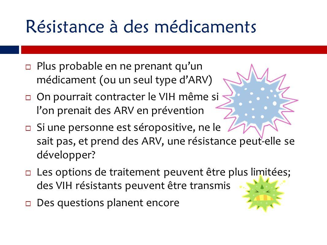 Résistance à des médicaments Plus probable en ne prenant quun médicament (ou un seul type dARV) On pourrait contracter le VIH même si lon prenait des