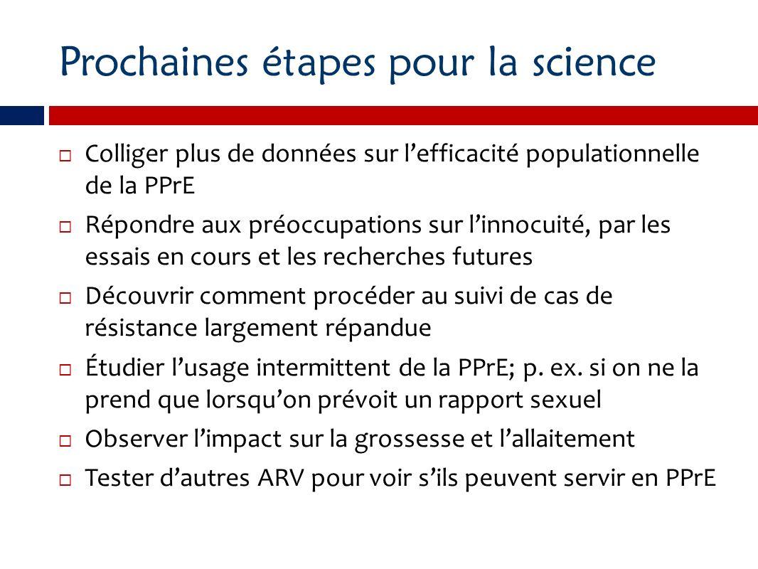 Prochaines étapes pour la science Colliger plus de données sur lefficacité populationnelle de la PPrE Répondre aux préoccupations sur linnocuité, par