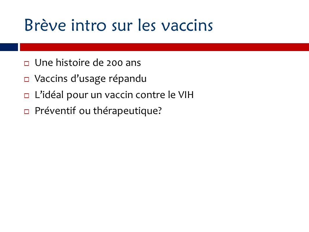 Brève intro sur les vaccins Une histoire de 200 ans Vaccins dusage répandu Lidéal pour un vaccin contre le VIH Préventif ou thérapeutique?