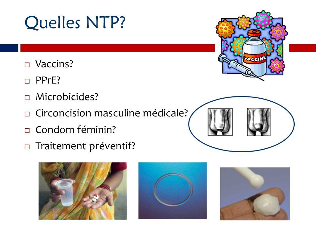 Quelles NTP? Vaccins? PPrE? Microbicides? Circoncision masculine médicale? Condom féminin? Traitement préventif?