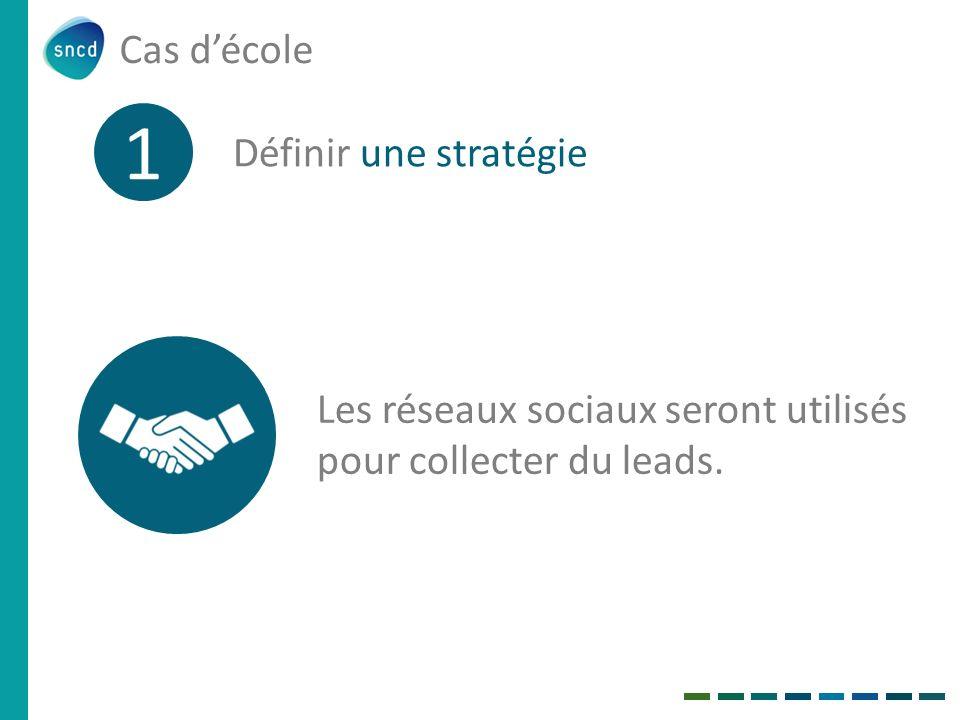 Cas décole 1 Définir une stratégie Les réseaux sociaux seront utilisés pour collecter du leads.