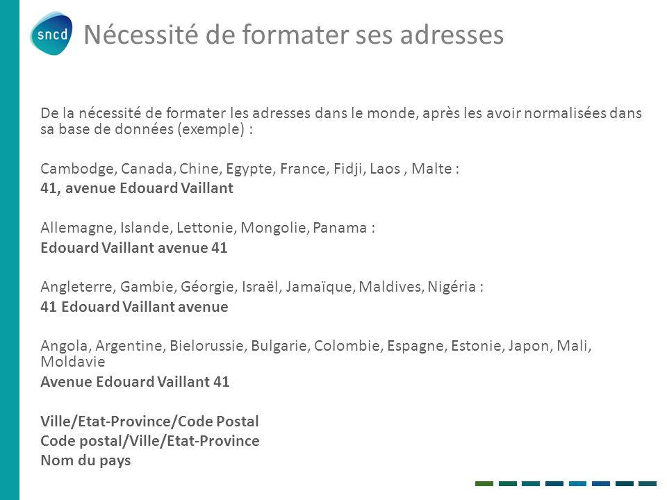 De la nécessité de formater les adresses dans le monde, après les avoir normalisées dans sa base de données (exemple) : Cambodge, Canada, Chine, Egypt