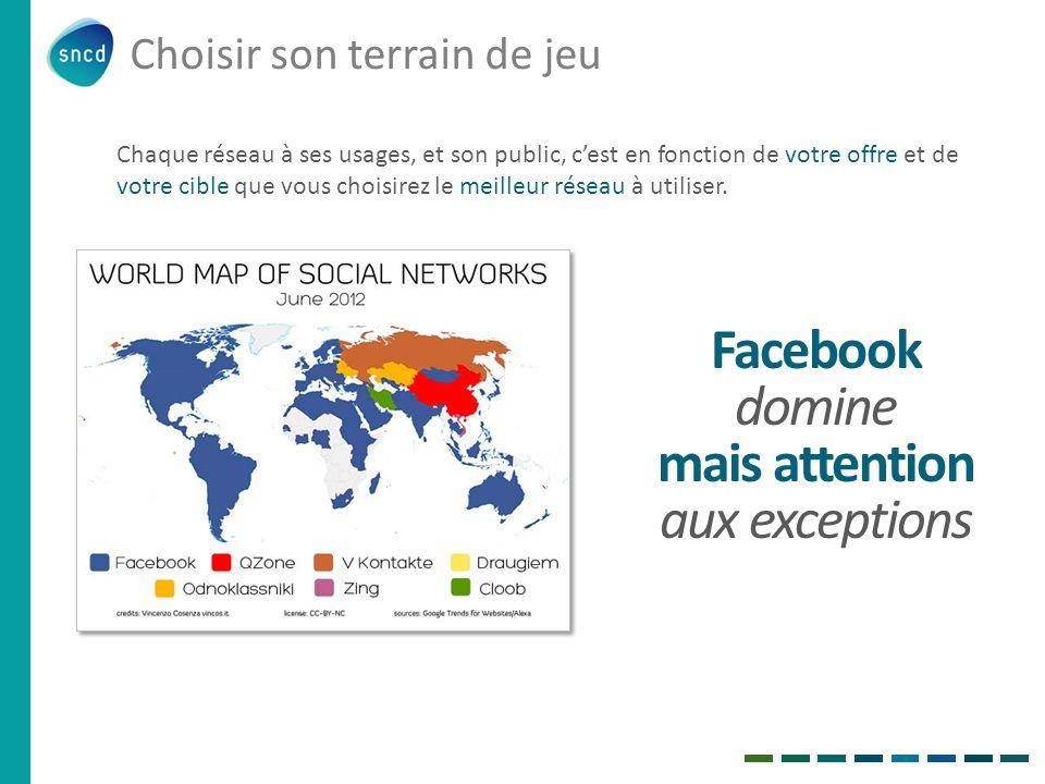 Choisir son terrain de jeu Facebook domine mais attention aux exceptions Chaque réseau à ses usages, et son public, cest en fonction de votre offre et