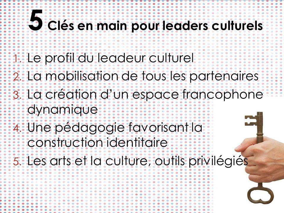 5 Clés en main pour leaders culturels 1. Le profil du leadeur culturel 2. La mobilisation de tous les partenaires 3. La création dun espace francophon