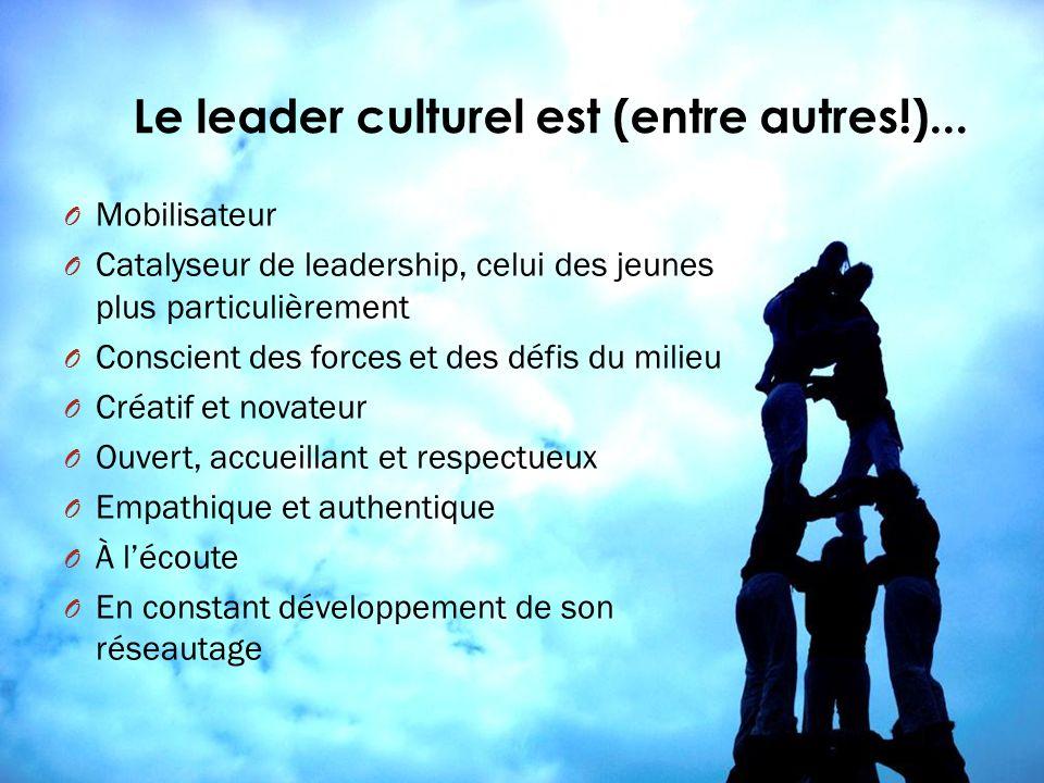 Le leader culturel est (entre autres!)... O Mobilisateur O Catalyseur de leadership, celui des jeunes plus particulièrement O Conscient des forces et