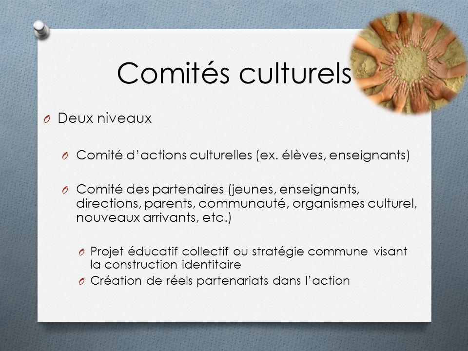 Comités culturels O Deux niveaux O Comité dactions culturelles (ex. élèves, enseignants) O Comité des partenaires (jeunes, enseignants, directions, pa