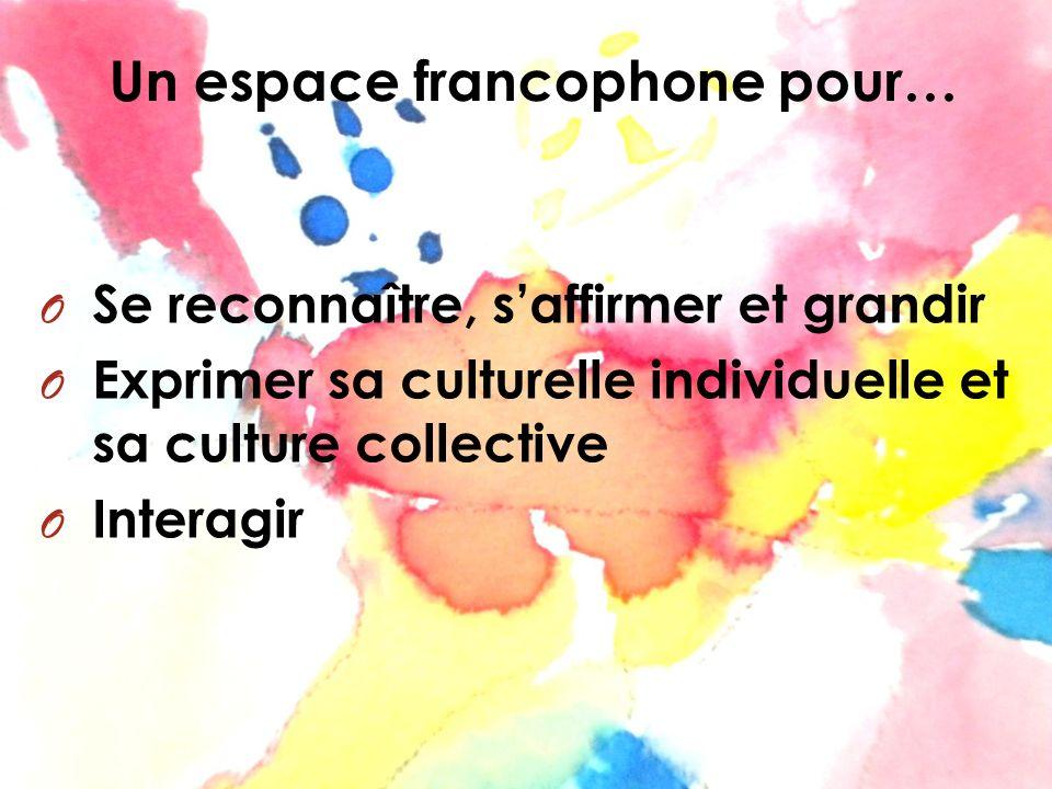 Un espace francophone pour… O Se reconnaître, saffirmer et grandir O Exprimer sa culturelle individuelle et sa culture collective O Interagir