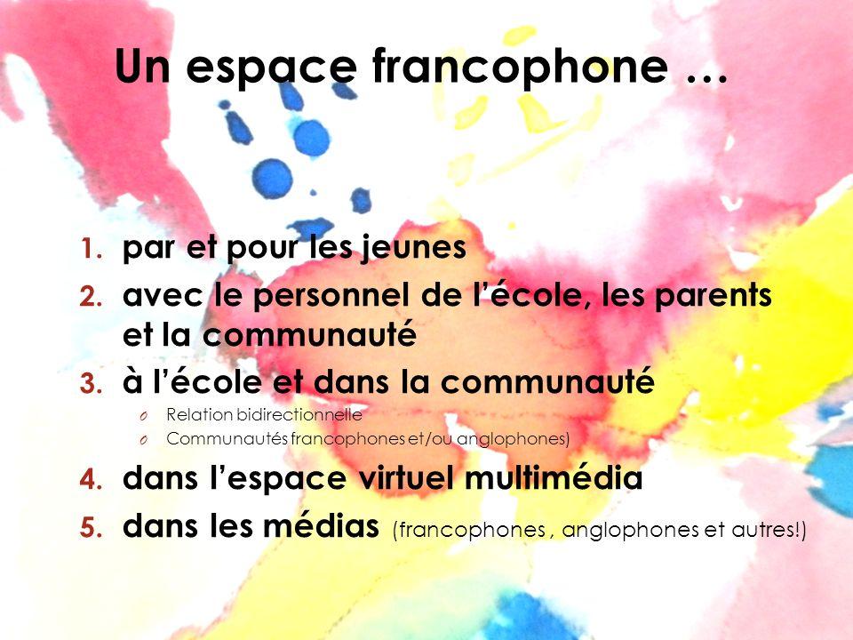 Un espace francophone … 1. par et pour les jeunes 2. avec le personnel de lécole, les parents et la communauté 3. à lécole et dans la communauté O Rel