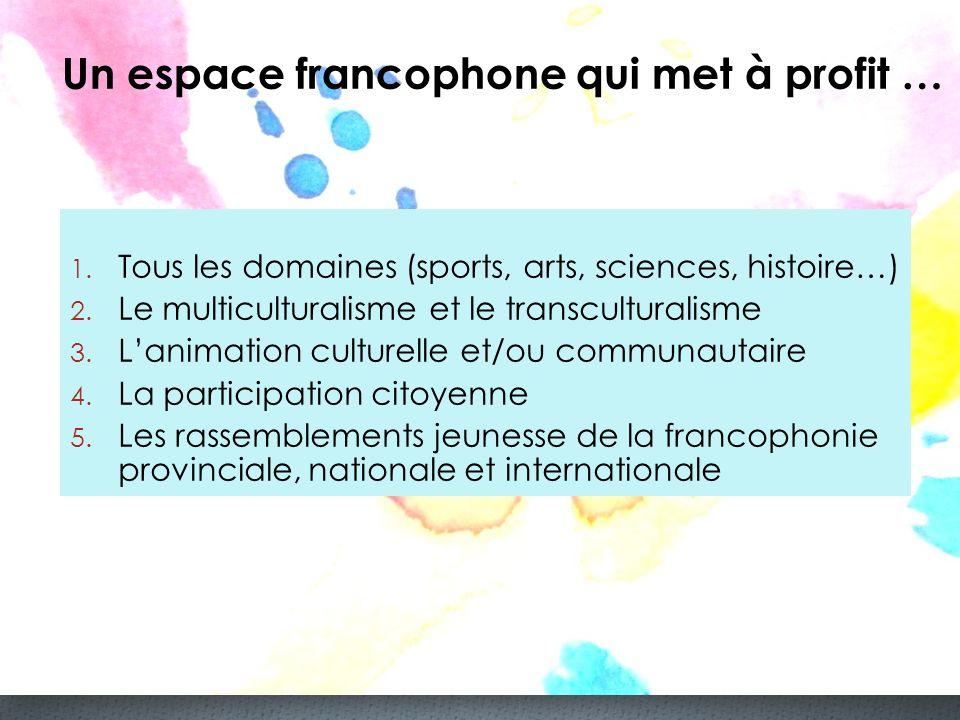 Un espace francophone qui met à profit … 1. Tous les domaines (sports, arts, sciences, histoire…) 2. Le multiculturalisme et le transculturalisme 3. L