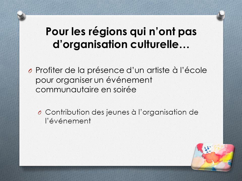 Pour les régions qui nont pas dorganisation culturelle… O Profiter de la présence dun artiste à lécole pour organiser un événement communautaire en so