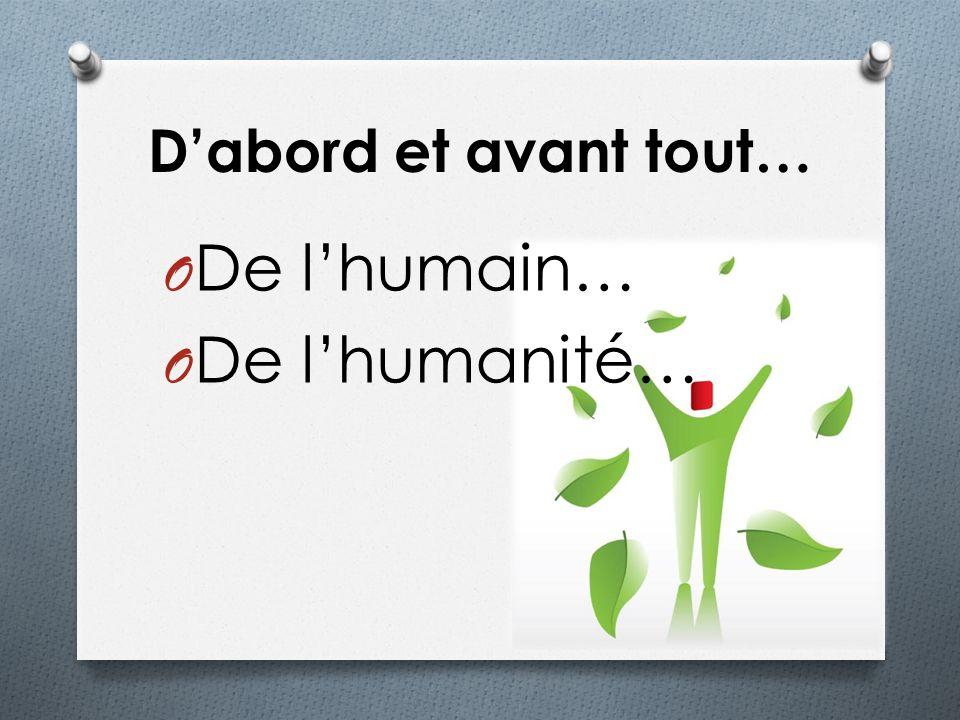 Dabord et avant tout… O De lhumain… O De lhumanité…