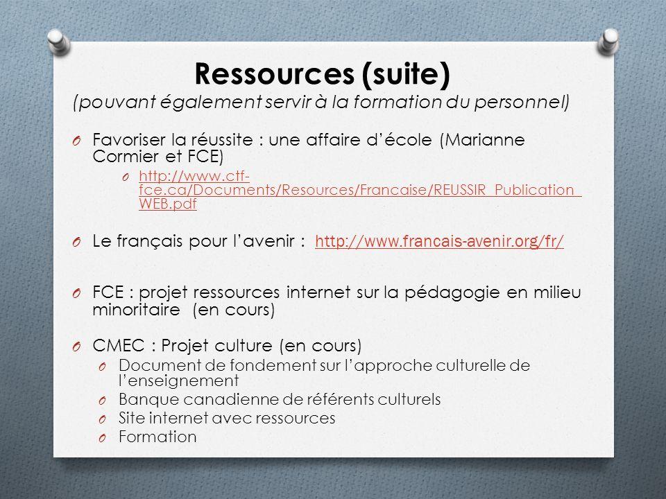 Ressources (suite) (pouvant également servir à la formation du personnel) O Favoriser la réussite : une affaire décole (Marianne Cormier et FCE) O htt