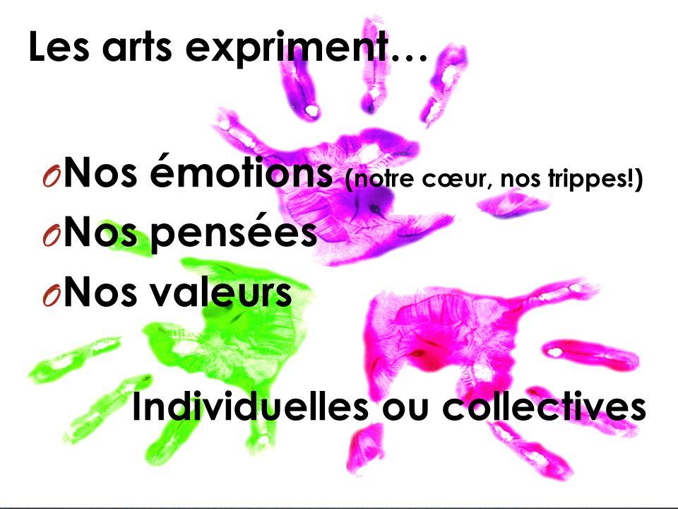 Les arts expriment… O Nos émotions (notre cœur, nos trippes!) O Nos pensées O Nos valeurs Individuelles ou collectives