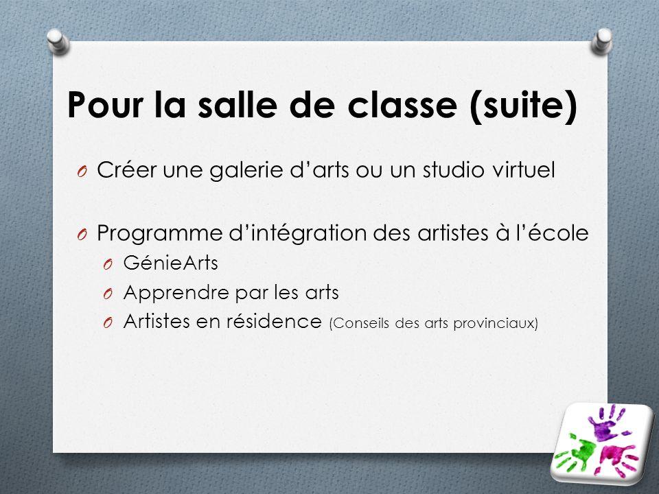 Pour la salle de classe (suite) O Créer une galerie darts ou un studio virtuel O Programme dintégration des artistes à lécole O GénieArts O Apprendre
