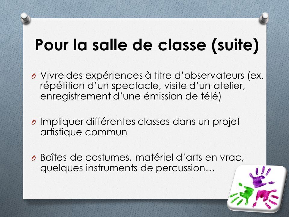 Pour la salle de classe (suite) O Vivre des expériences à titre dobservateurs (ex. répétition dun spectacle, visite dun atelier, enregistrement dune é