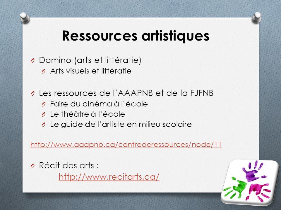 Ressources artistiques O Domino (arts et littératie) O Arts visuels et littératie O Les ressources de lAAAPNB et de la FJFNB O Faire du cinéma à lécol