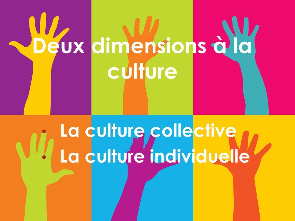 Deux dimensions à la culture La culture collective La culture individuelle
