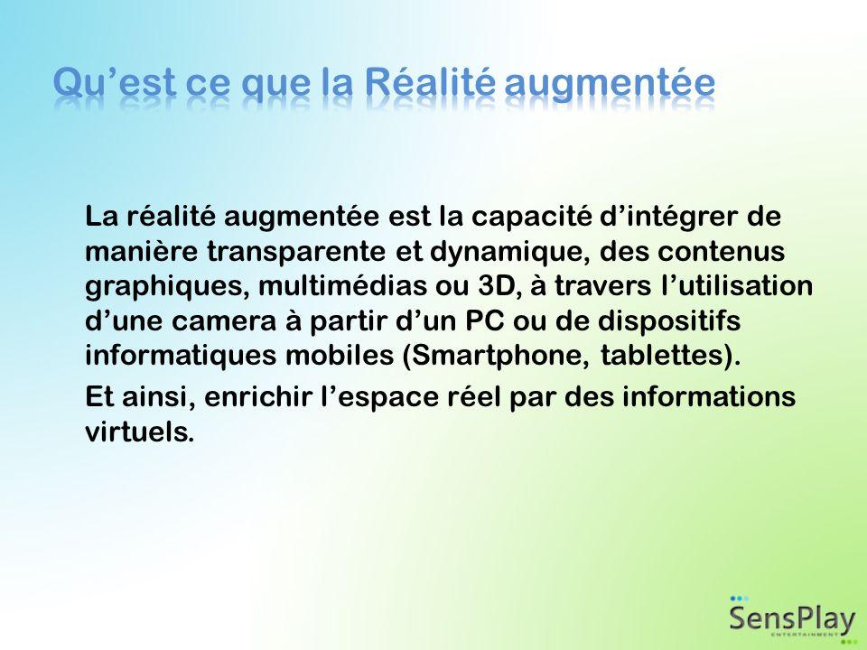 La réalité augmentée est la capacité dintégrer de manière transparente et dynamique, des contenus graphiques, multimédias ou 3D, à travers lutilisation dune camera à partir dun PC ou de dispositifs informatiques mobiles (Smartphone, tablettes).