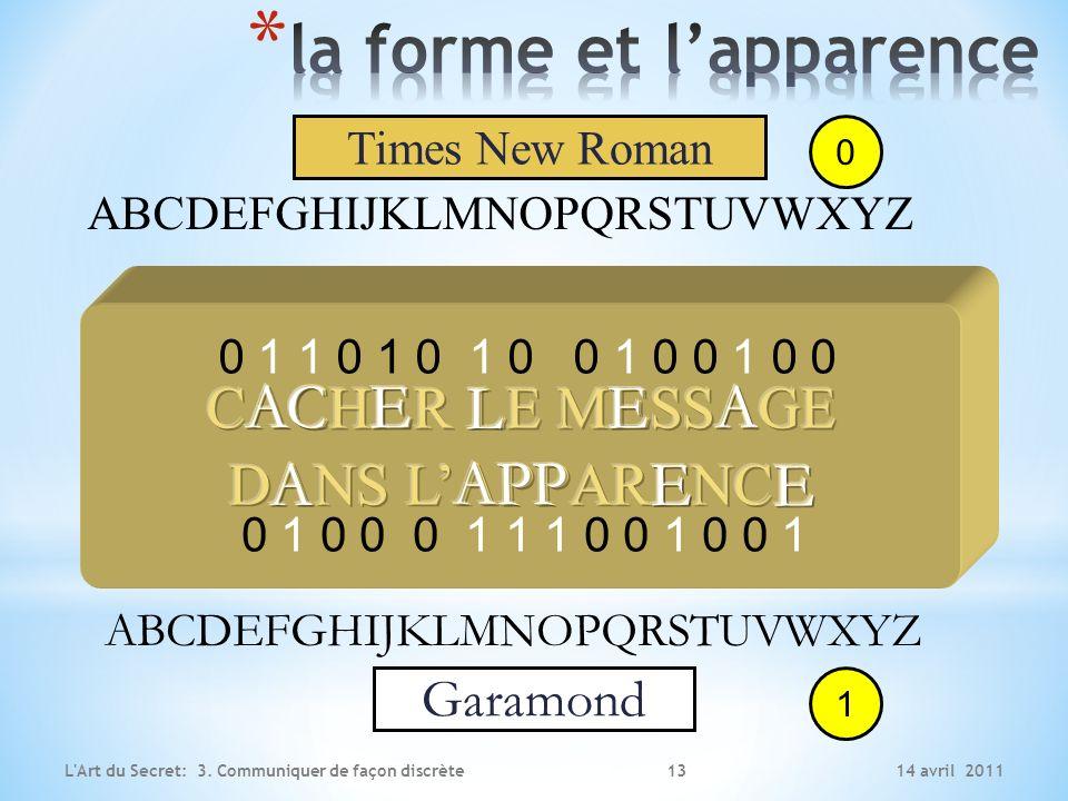 14 avril 2011L'Art du Secret: 3. Communiquer de façon discrète ABCDEFGHIJKLMNOPQRSTUVWXYZ ABCDEFGHIJKLMNOPQRSTUVWXYZ Times New Roman Garamond 0 1 0 1