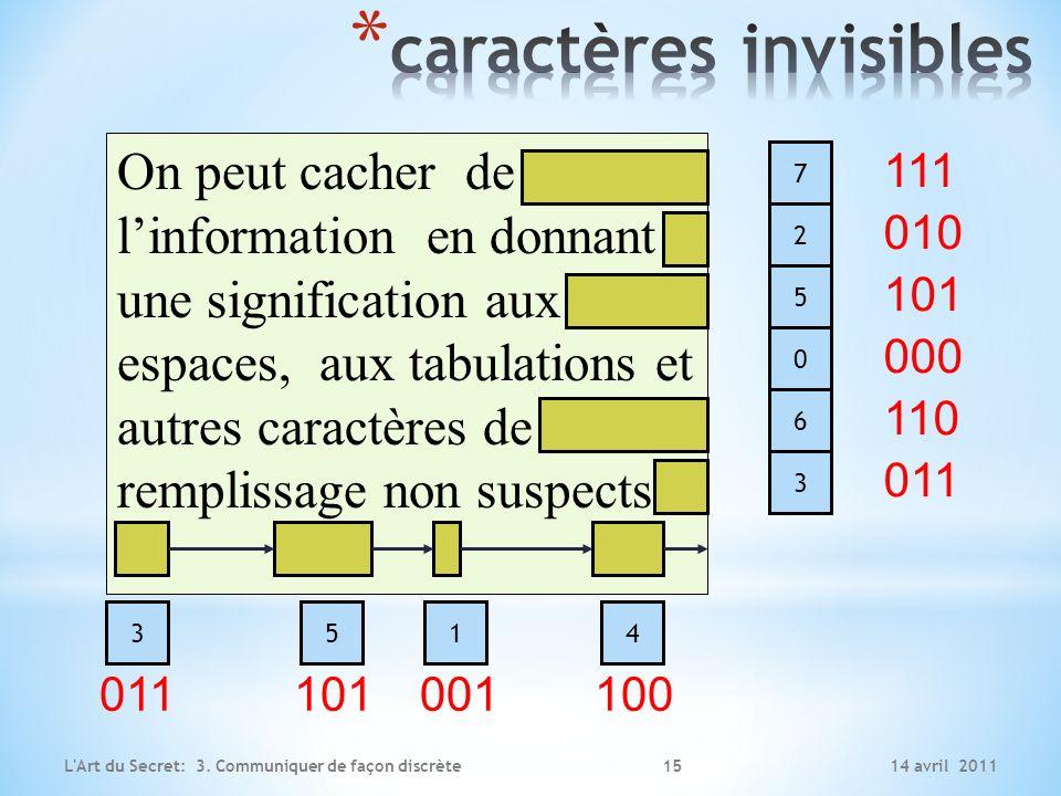 14 avril 2011L'Art du Secret: 3. Communiquer de façon discrète On peut cacher de linformation en donnant une signification aux espaces, aux tabulation