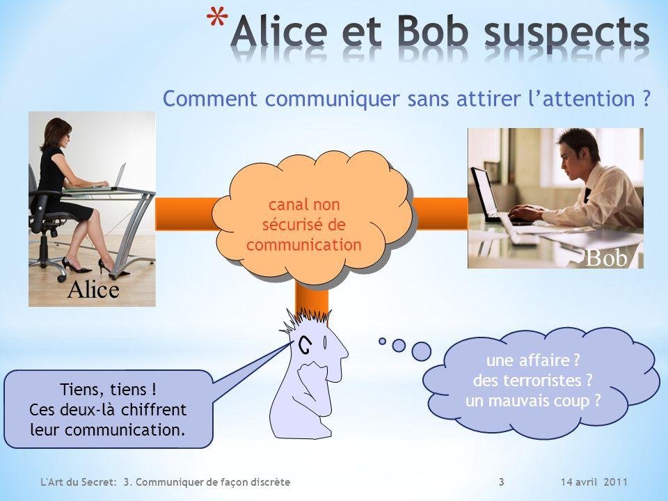 14 avril 2011L'Art du Secret: 3. Communiquer de façon discrète 3 Alice Bob canal non sécurisé de communication Tiens, tiens ! Ces deux-là chiffrent le