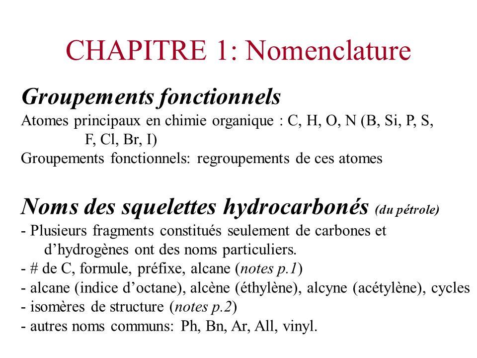 Groupements fonctionnels Atomes principaux en chimie organique : C, H, O, N (B, Si, P, S, F, Cl, Br, I) Groupements fonctionnels: regroupements de ces