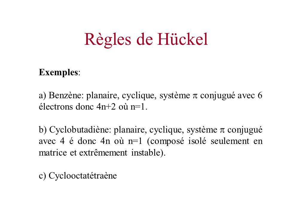 Règles de Hückel Exemples: a) Benzène: planaire, cyclique, système conjugué avec 6 électrons donc 4n+2 où n=1. b) Cyclobutadiène: planaire, cyclique,