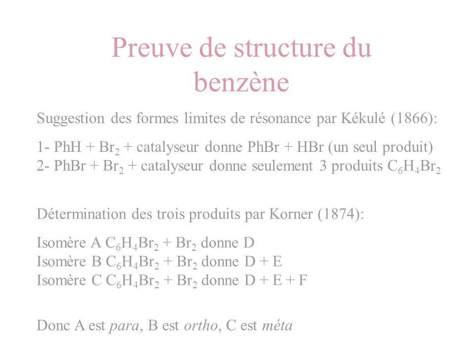 Preuve de structure du benzène Suggestion des formes limites de résonance par Kékulé (1866): 1- PhH + Br 2 + catalyseur donne PhBr + HBr (un seul prod
