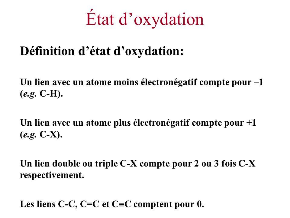 État doxydation Définition détat doxydation: Un lien avec un atome moins électronégatif compte pour –1 (e.g. C-H). Un lien avec un atome plus électron